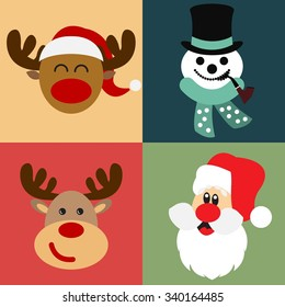 Vector collection of different Christmas figures / Santa Claus, Reindeer, Snowman / Christmas vector illustration set