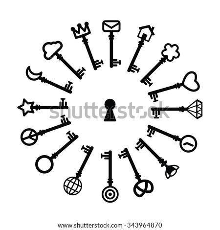 Vector Collection Different Keys Icons Simple Stock Vector Royalty