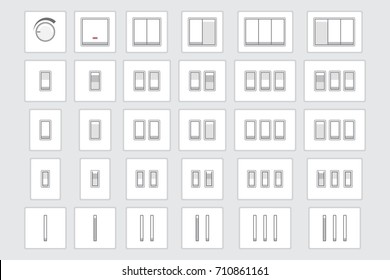 Vector collection of different light switch types: turned on and off. Flat style.