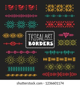 Vector collection of dividers, borders decorated with tribal colored patterns.