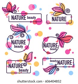 vector collection of doodle flowers emblems frames and logo