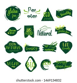 Vector collection of eco, bio, nature and organic leaves and plants emblems, elements, frames and logo.