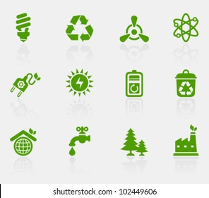 Vector collection of ecological icons, set 2. Image contains transparency effect in reflections and can be placed on every surface. EPS 10