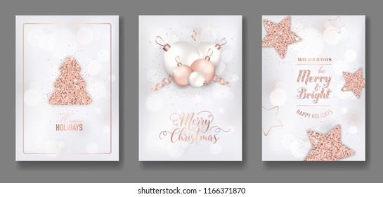 vector collection of elegant merry christmas cards with shining rose gold glitter xmas balls star christmas tree flyer and new year brochure 2019