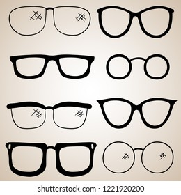 A Vector Collection of Eye Antique and Modern Eye Glasses