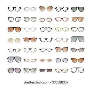 Vector collection of Eyeglasses and Sunglasses with different frames, models, shapes and styles for website and optics store. Isolated on white background.