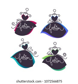 vector collection of fashion boutique and store logo, label, emblems with bright balloon dresses and lettering composition