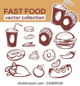 vector collection of fast food objects and ingredient for your american menu