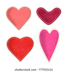 Vector collection of felt realistic red hearts. For design on Valentine's Day and weddings.