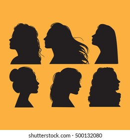 Vector collection of  female profiles. Silhouettes of pretty girls with different haircuts. Template for business card poster banner and print for t-shirt