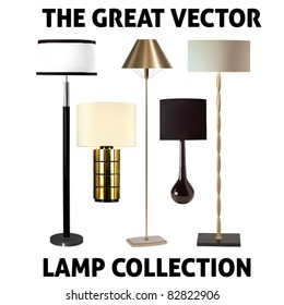 vector collection of five lamps