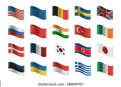 Vector collection of flags on the white background.