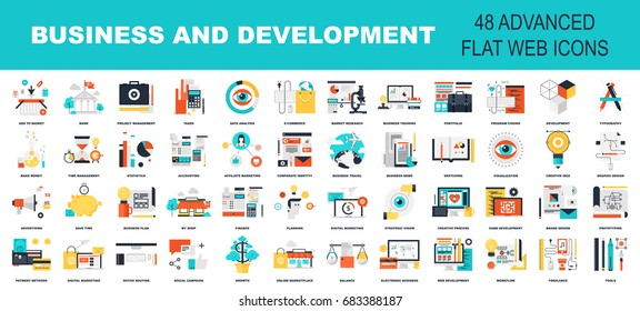 Vector collection of flat and colorful business and development concepts. Design elements for web and mobile applications.