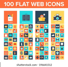Vector collection of flat and colorful web icons on SEO, business, shopping and technology theme. Design elements for mobile and web applications.