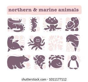 Vector collection of flat cute animal icons isolated on white background. Northern and marine animals and birds symbols. Hand drawn emblems. Perfect for logo design, infographic, prints etc.