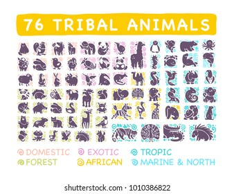 Vector collection of flat cute tribal animal icons with hand drawn ornament isolated on white background. Spread life area, infographic. Perfect for logo, web design, banners, patterns, prints etc.