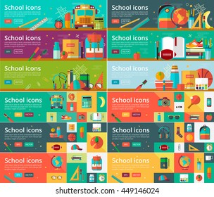 Vector collection of flat education design concepts. Horizontal banners set with school items. Back to school concept for web and promotional materials.