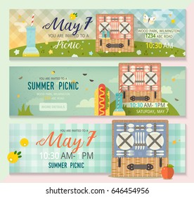Vector collection of flat family picnic concepts. Horizontal banners set of picnic glade. Pastime illustration. Invitation banner card with summer nature, picnic basket and tartan tablecloth pattern.