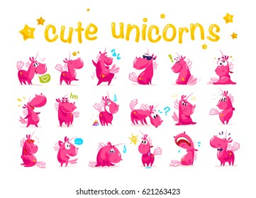 Vector collection of flat funny unicorns isolated on white background. Cartoon style. Set of emoji smile characters. Animal facial expressions and emotions. Fairy pink horse. Children illustration.