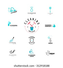 Vector collection of flat logo for cleaning company. Clearing service insignia. Cleaning industry flat icon. Cleaning logo with feather, duster cleaner symbol.