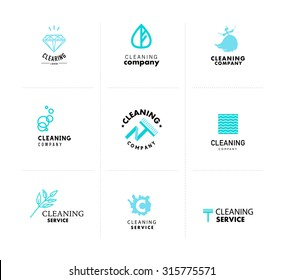vector collection of flat logo for cleaning company isolated on white background cleaning service insignia