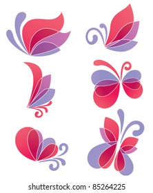 vector collection of floral elements and butterfly