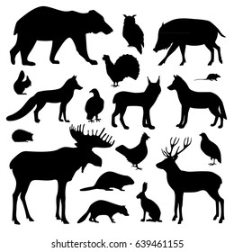 Vector collection of forest animals, includes 18 black silhouettes. Monochrome set isolated on white background