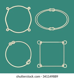 Vector collection of frames made of tied ropes. Beautiful design elements.