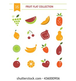 Vector collection of fresh healthy fruits  made in flat style - each one is isolated for easy use. Healthy lifestyle or diet elements. Fruit icons.