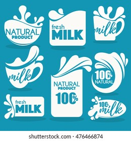 vector collection of fresh and natural milk emblems, symbols and logo
