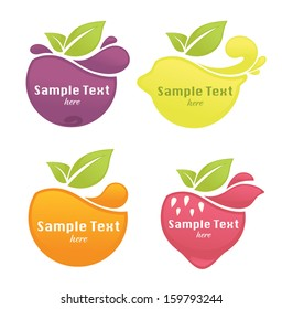 vector collection of fresh stylized fruits and berries, stickers and emblems