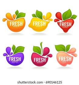 vector collection of fresh stylized fruits and berries, logo, labels, stickers and emblems