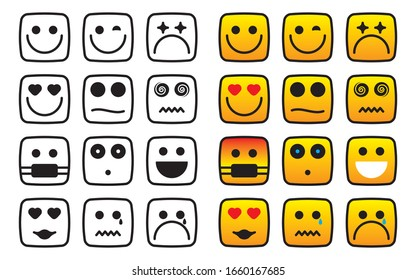 vector collection of funny square emoticons