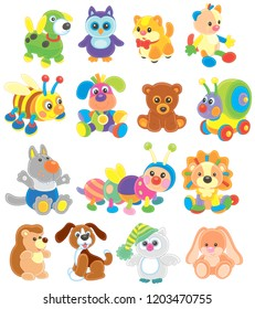 Vector collection of funny toy animals for small children