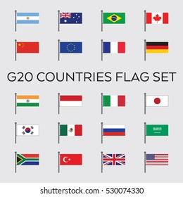 A vector collection of the G20 country flags. These twenty nations are the top economies in the world.
