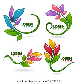 vector collection of glossy and cartoon leaves and flowers decorative  frames