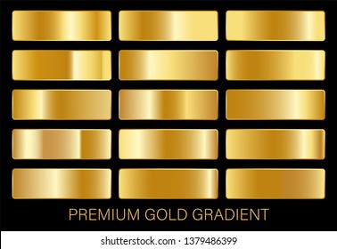 vector collection of gold gradients. realistic golden metallic palettes. gold gradient set. editable vector texture in eps10.