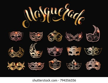 Vector collection of gold masquerade masks isolated on black background
