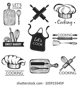 Vector collection with graphic logos. Cook. Bakery