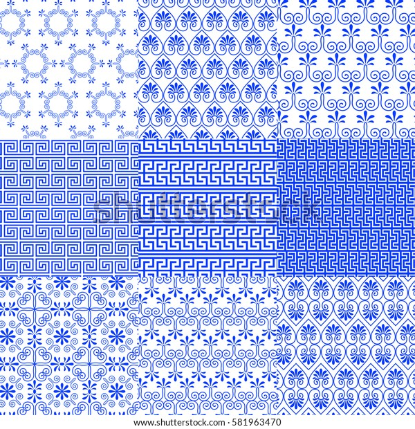 Vector collection of Greek traditional and modern seamless patterns for decoration background, textile, fashion design. Set of geometric ornaments in blue and white colors