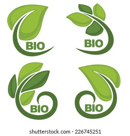 vector collection of green leaf signs and symbols