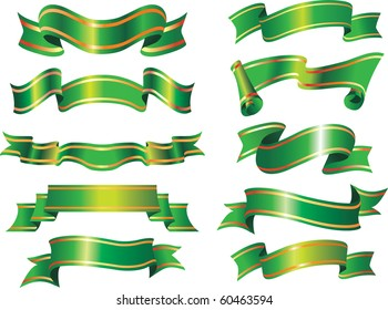 vector collection of green ribbons or banners. christmas holiday style