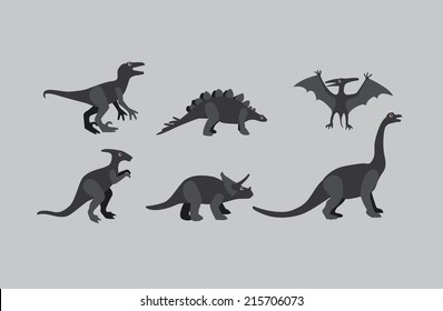 Vector Collection of  grey-scale  Dinosaurs on grey background