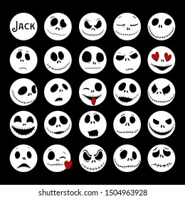 Vector Collection of Halloween Faces. The nightmare before christmas. Jack Skellington. halloween jack faces silhouettes.