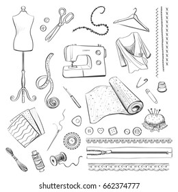 Vector collection hand drawing sewing, materials and tools. Isolated drawings on white background.