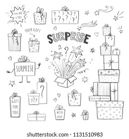 Vector collection of hand drawing surprises. Isolated gift boxes on a white background