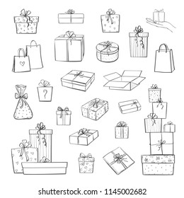 Vector collection of hand drawings of gift boxes and packages on a white background