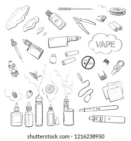 Vector collection of hand drawings vape. Electronic cigarettes and accessories to them on a white background