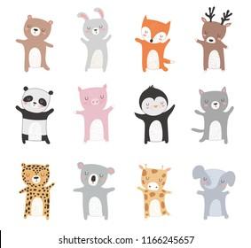 Vector collection of hand drawn animals. Valentine's day, anniversary, baby shower, birthday, children's party, autumn holidays