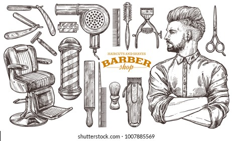 Vector collection of hand drawn barbershop tools and accessories with hipster model man. Sketch vintage illustration of shaving and hairdresser equipments: razor, comb, scissors, barbershop pole, brush